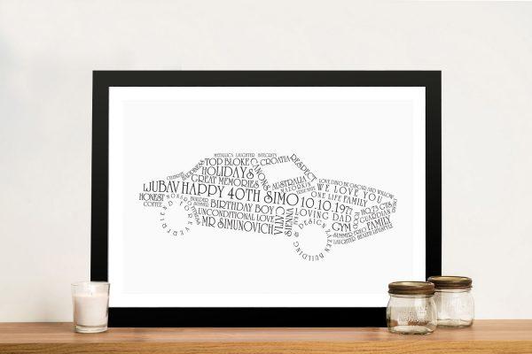 Car shaped Word Art