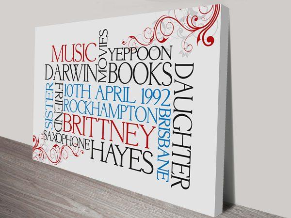 Custom Typographic Art Design Melbourne Australia
