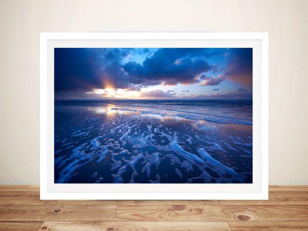 Blue Reflections Ocean Surf Beach Framed Print Australia