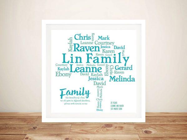Custom Family Tree Framed Wall Art Gift