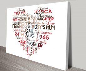 Personalised Photo Word Art in Heart Shape