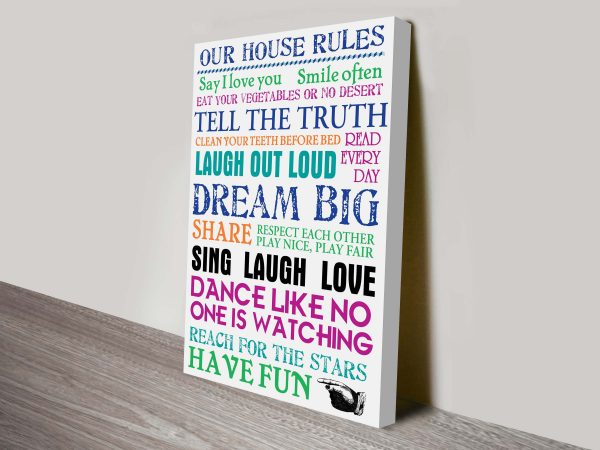 Our House Rules Custom Word Art Gifts