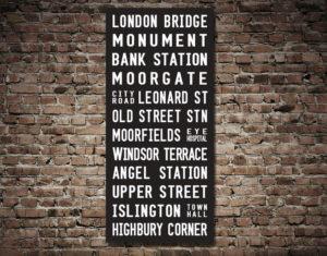 No.43 London Bridge Highbury Reproduction Destination Wall Art Print