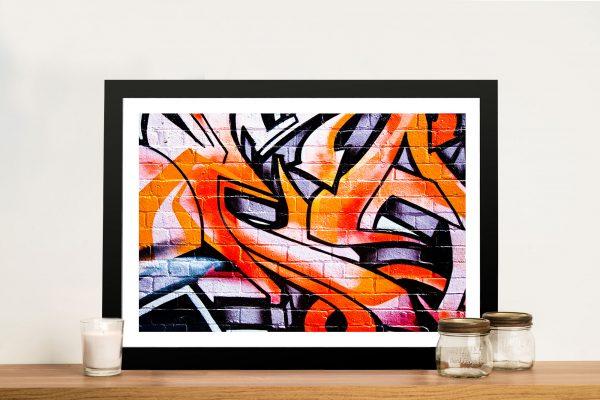 Orange abstract graffiti Framed Wall Art