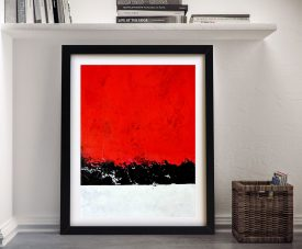 Over the Edge Red Abstract Framed Wall Art