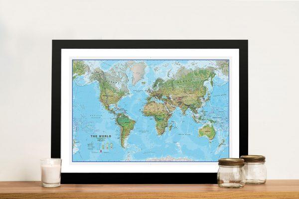 Physical World Map Framed Artwork