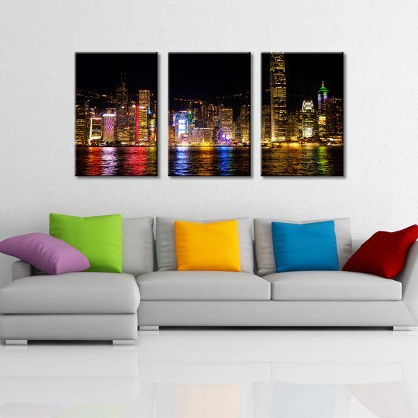 Triptych Split Canvas Art Set of Victoria Harbour