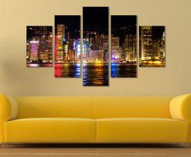 Victoria Harbour Hong Kong at Night 5 Panel Split Art Set