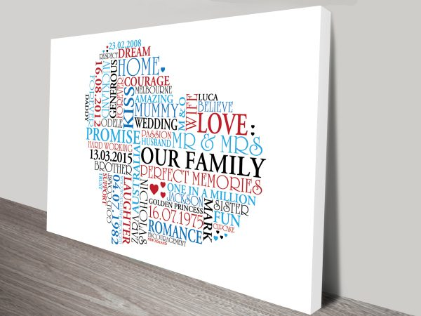Personalised Gifts Heart Shaped Canvas Wall Art