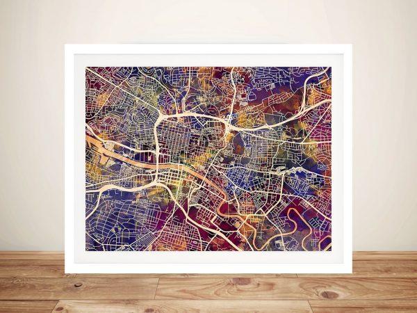 Glasgow Street Map Framed Wall Art