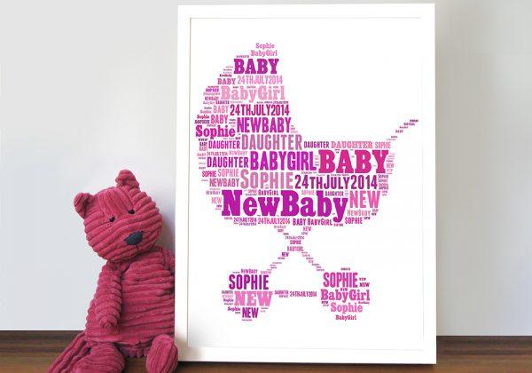 personalised pram word art new baby