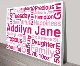 New Baby Word Cloud Custom Canvas