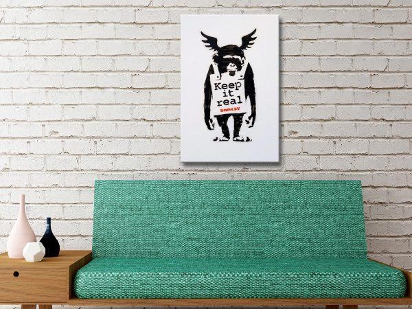Banksy Keep it Real Monkey Canvas Wall Art