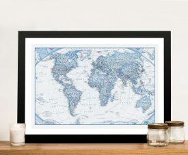 Buy Blue Map Framed Wall Art Australia