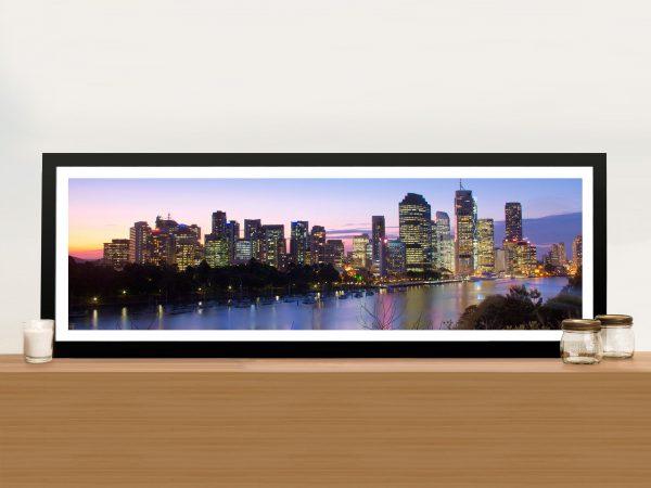 Brisbane Skyline panoramic Framed Wall Art