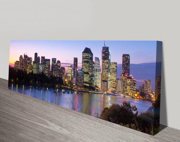 Brisbane skyline panoramic canvas art print