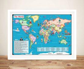 Fun World Map Framed Wall Art