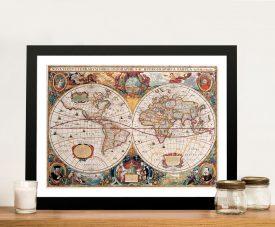 Henricus Hondius Framed World Map Wall Art