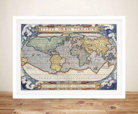 Latin Old World Map Framed Wall Art