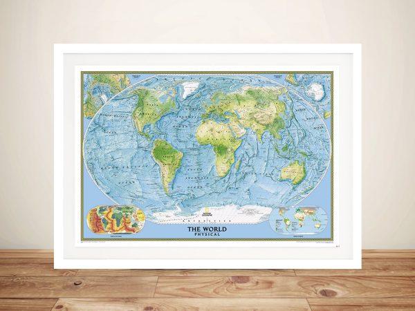 National Geographic World Ocean Floor Framed Map