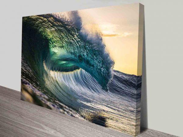 Surf Photography Sunset Wave Canvas Art Print Australian Artwork Online