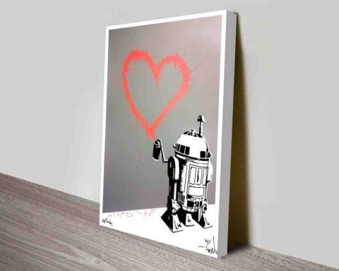 R2D2 HEART Graffiti Canvas Wall Print