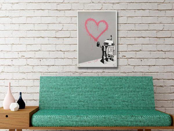 R2D2 Heart Graffiti Canvas Artwork