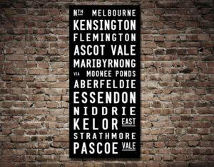 North Melbourne Tram Scroll Train Word Destination Art