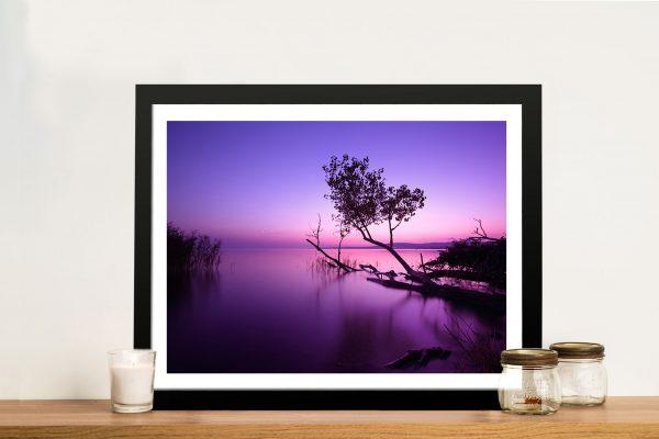 Purple shores Lake Sunrise Framed Wall Art