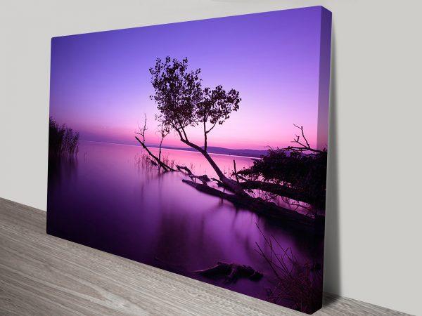Lake Sunrise Photography Purple Canvas Art Print