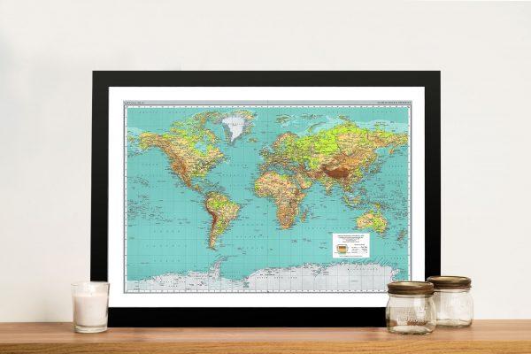 Teal green world map art framed print