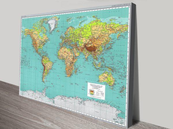 Teal green world map canvas art print