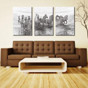 White Horses 3 Panel Photo Wall Art Print