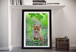 Fox Cub Photo Framed Wall Art Print