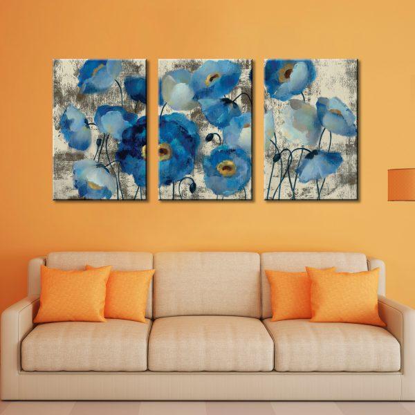Aquamarine Floral Triptych Silvia Vassileva Wall Art Print Australia