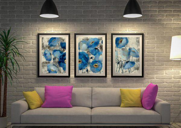 Buy Aquamarine Framed Floral Triptych Wall Art