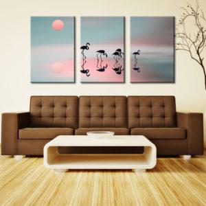 Family Flamingos 3 Panel Split Canvas Photo Wall Art