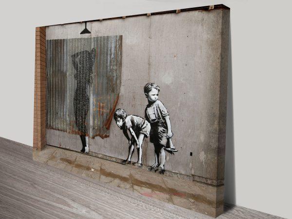 Peeking Kids Banksy Canvas Art Australia