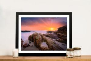 Misty Shores at Sunset Ocean Scenic Art Print