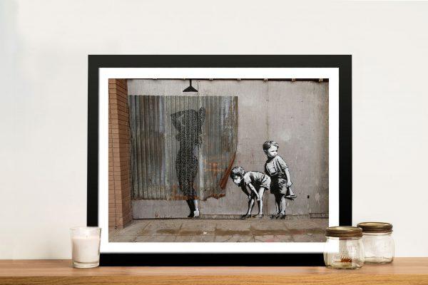 Peeking Kids Banksy Framed Australian Wall Artwork