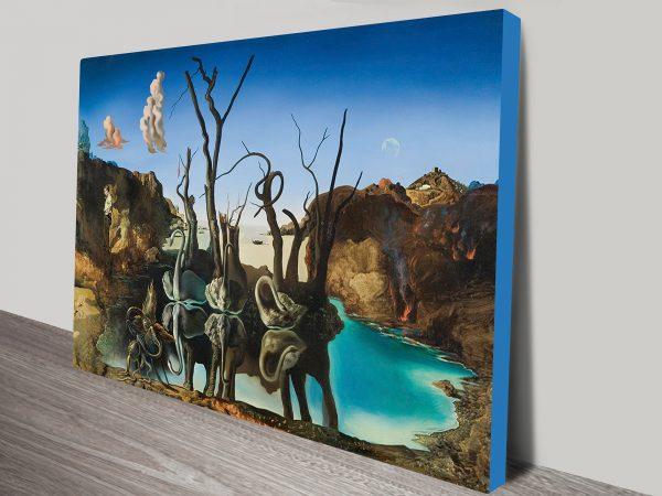 Salvador Swans Reflecting Elephants Canvas Artwork