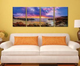 Sunset Bay Noel Buttler 4 Panel Stretched Canvas Wall Art Prints