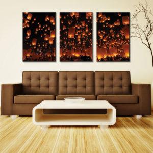 Chinese Lanterns Triptych 3 Panel Split Canvas Photo Wall Art