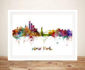 New York Watercolour Framed Wall Art