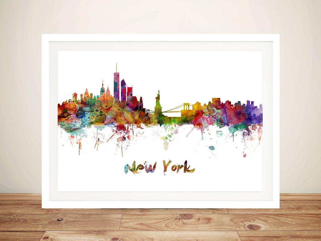 new york watercolour city skyline canvas art print by michael tompsett. Black Bedroom Furniture Sets. Home Design Ideas