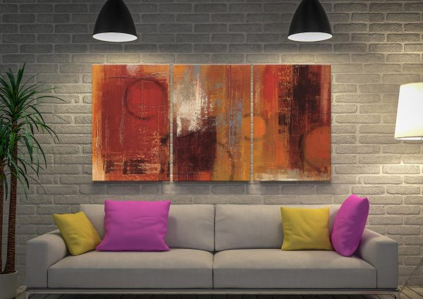 Pentatonic 3-Piece Ready to Hang Abstract Art