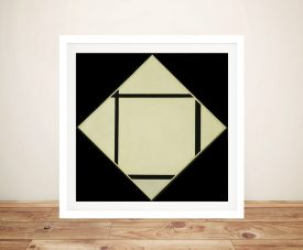 Piet Mondrian Tableau I Lozenge with Four Lines and Gray Wall Art Print