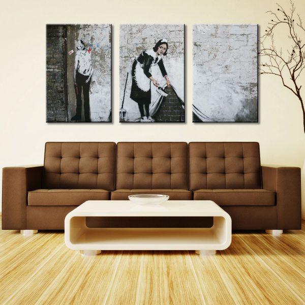 Keeping it Spotless Banksy Maid Triptych Art