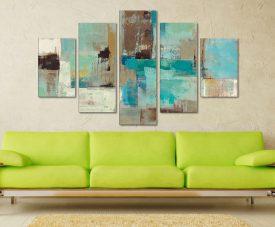 Teal And Aqua Reflections 5 Panel Canvas Art Prints