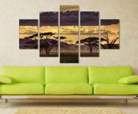 Good Evening Tanzania 5 Piece Artwork Canvas Wall Art